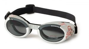 Silver Dog Goggles With Skull Emblem