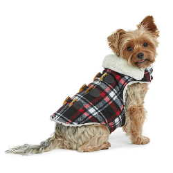 Plaid Melton Sherpa Lined Dog Coat