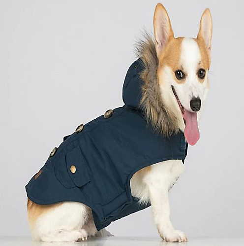Blue Parka Dog Coat With Hood And Faux Fur Trim