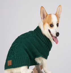 Green Cable Knit Dog Sweater by Bee & Willow Home
