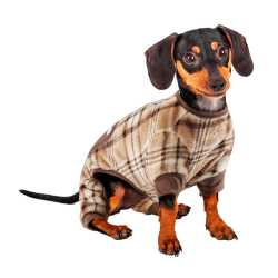 Brown and Beige Plaid Dog Pajamas