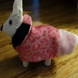Pink Faux Fur Animal Print Dog Coat XXS Size