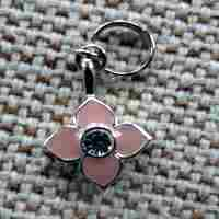 Pink Enamel Flower Dog Collar Charm