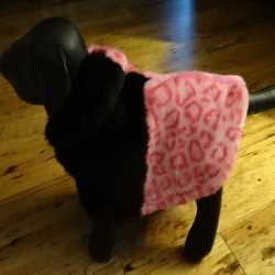Pink Faux Fur Animal Print Dog Coat XS Size