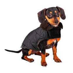 Black Quilted Dog Coat Faux Fur Lined