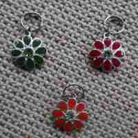 Silver and Enamel Flower Dog Collar Charm