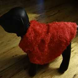 Bright Red Shaggy Faux Fur Dog Coat With Collar XS Size
