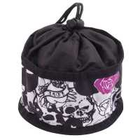 Dog Travel Bowl Black Skull Theme