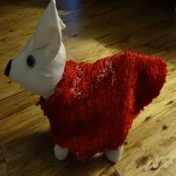 Bright Red Faux Fur Valentine Day Dog Coat XXS Size